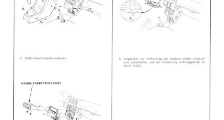 Honda CRX ED9 (D16Z5): Mittelkonsole ausbauen - Honda Werkstatthandbuch